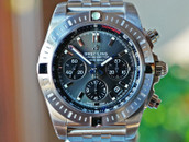 BREITLING CHRONOMAT B01 GREY DIAL BLACK SUBDIALS STEEL 44MM