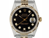 Rolex Oyster Perpetual Datejust Black Diamond Dial Two Tone 36mm