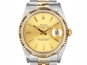 Rolex Oyster Perpetual Datejust Champagne Dial Two Tone 36mm