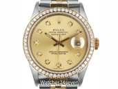 Rolex Oyster Perp Datejust Champagne Diamond Dial & Bez 26mm