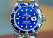 Rolex Submariner Two Tone Blue Dial, Gold Buckle B&P ON HOLD