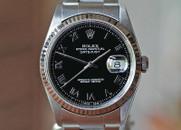 Rolex Datejust  Black, Gold Fluted Bez, Jubilee Br, 36mm Ref. 16234