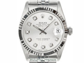 Rolex Datejust Mid Size Silver Diamond Dial Steel & White Gold 31mm