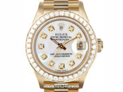 Rolex Ladies President Mother of Pearl Diamond Dial & Bezel 26mm