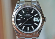 Rolex Datejust II Black Dial, Fluted Bezel,  Steel 41mm Ref. 116234