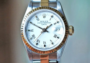 Rolex Datejust Ladies Two Tone White Dial Fluted Bez, 26mm Ref. 69173