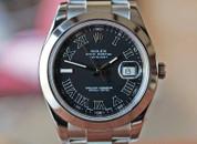 Rolex Datejust II Black Roman Dial Oyster Bracelet Steel 41mm