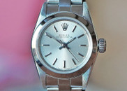 Rolex Ladies Oyster Perpetual Silver Stick Dial Oyster Bracelet 24mm Ref. 67180