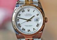Rolex Datejust 36 Two Tone White Roman Dial Jubilie Bracelet Ref. 116233