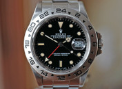 Rolex Explorer II GMT Red Hand Black Patina Markers Steel 40mm Ref. 16550