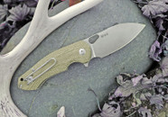 GiantMouse Ace Riv Green Canvas Micarta Folder Knife
