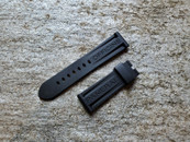 PANERAI OEM RUBBER DIVE STRAP BLACK STANDARD EXTRA LONG FOR DEPLOYANT 24MM