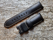 PANERAI OEM STRAP MONTE CARLO BLACK LEATHER  WITH BEIGE STITCHING 24MM