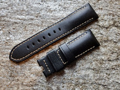PANERAI OEM DIVE STRAP MONTE CARLO BLACK LEATHER  WITH BEIGE STITCHING 24MM