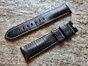 PANERAI OEM DIVE STRAP ALLIGATOR SEMI MATT BLACK EXTRA LONG LENGTH FOR DEPLOYANT 24MM