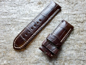 PANERAI OEM DIVE STRAP ALLIGATOR DARK BROWN FOR TANG BUCKLE 26MM