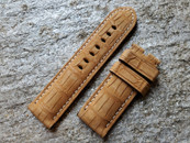 PANERAI OEM DIVE STRAP ALLIGATOR NUBUCK GOLD FOR TANG BUCKLE 26MM