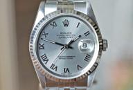 Rolex Datejust Grey Dial Jubilie Bracelet Fluted Bez 36mm Ref. 16220