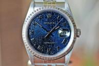 Rolex Datejust Blue Logo Dial Jubilie Bracelet Fluted Bezel Ref. 16220