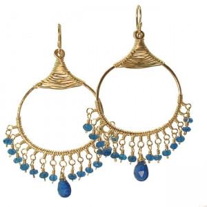 Chandelier Gemstone Earrings- Customizable (Blue Apatite Shown)