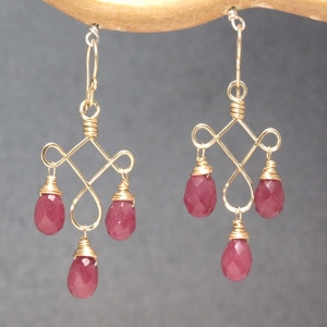 Chandelier Gem Earrings, Customizable, Purple Jade