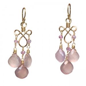 Gemstone Chandelier Earrings, Customizable Rose Chalcedony