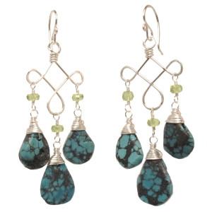Blue Green Turquoise Earrings