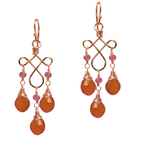 Garnet Chandelier Earrings in Mandarin Red