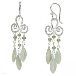 Aqua Gemstone Chandelier Earrings