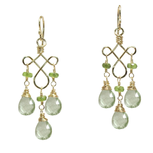 Pale Green Chandelier Earrings, Green Amethyst
