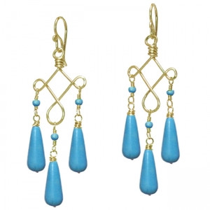 Turquoise Gem Drop Earrings