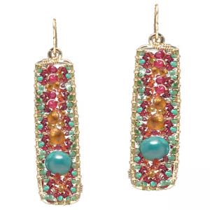 Rectangular Gemstone Earrings