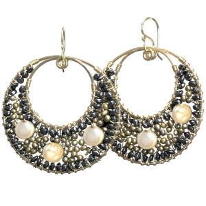 Beaded Pearl Earrings, Round