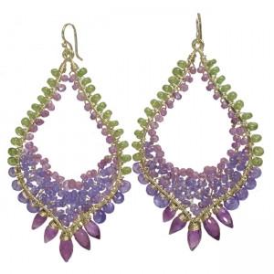 Chandelier Dangle Earrings With Amethyst