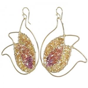 Orange and Pink Crystal Earrings