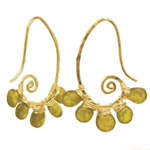 Green Stone Long Dangle Earrings