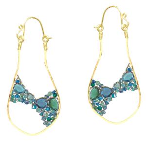 Woven Dangle Earrings With Aqua Gems