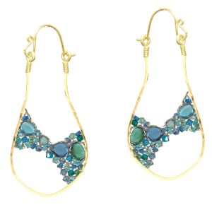 Woven Dangle Earrings With Aqua Gems