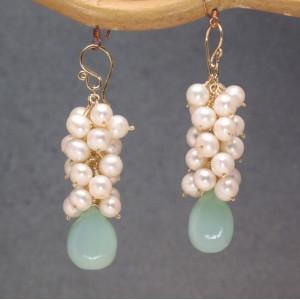 Pearl and Gemstone Earrings, Customizable Dangles
