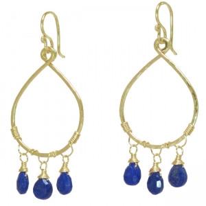 Teardrop Earrings with Gems - Customizable - Lapis Lazuli