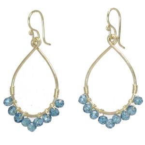 Custom Gemstone Earrings -  Blue Topaz
