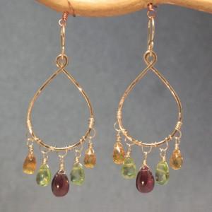 Multi-Colored Gemstone Dangle Earrings
