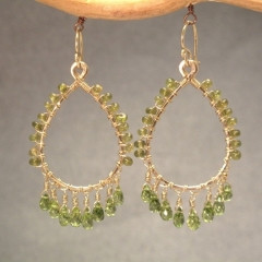 Green Crystal Chandelier Earrings