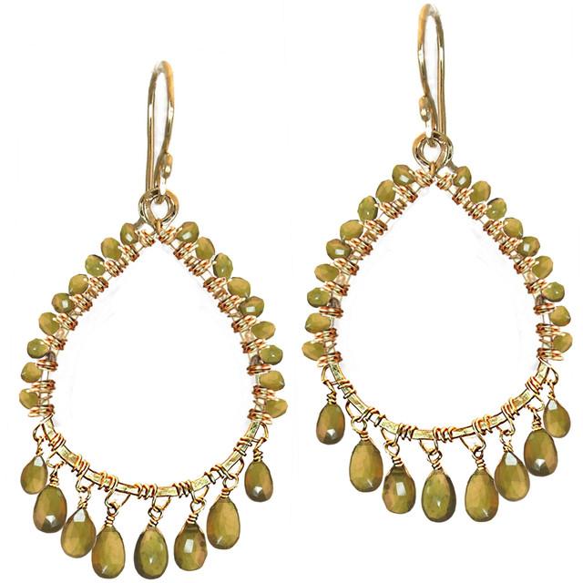 Green Crystal Chandelier Earrings
