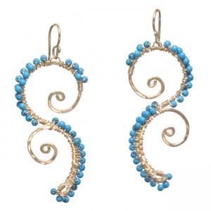 Custom Gem Chandelier Earrings, Swirly