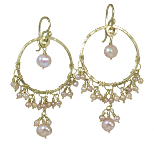 Gold &  Pearl Chandelier Earrings, Customizable