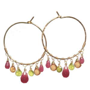 Pink Gem Earrings With Green