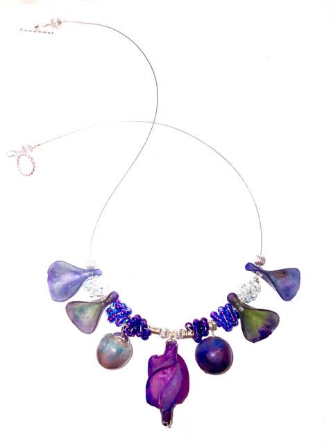 Violet Sculptural Translucent Polymer Clay Necklace