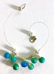 Translucent Spherical Blue Sculptural Beaded Necklace