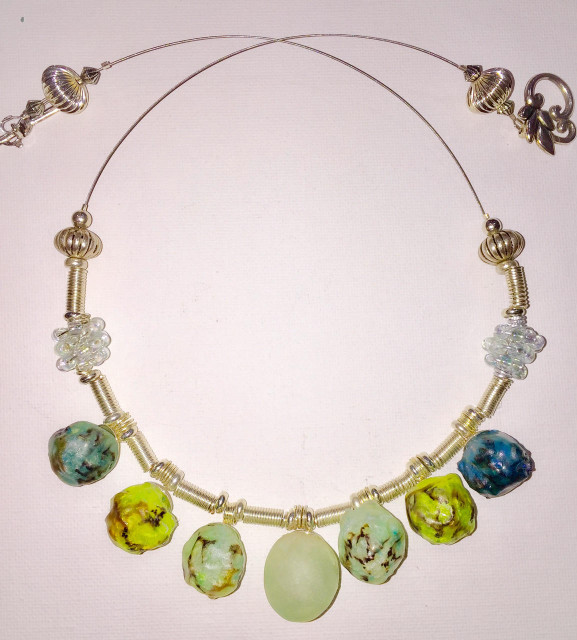 Sea Glass-Like Translucent Sculpted Necklace